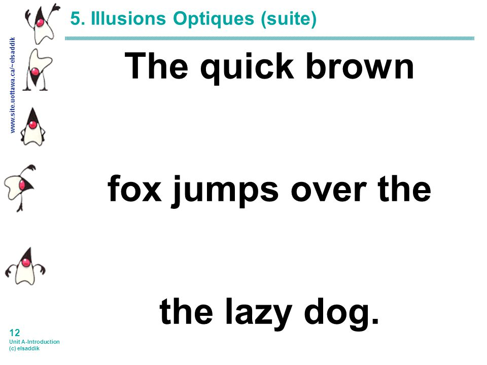 www.site.uottawa.ca/~elsaddik 11 Unit A-Introduction (c) elsaddik 5. Illusions Optiques