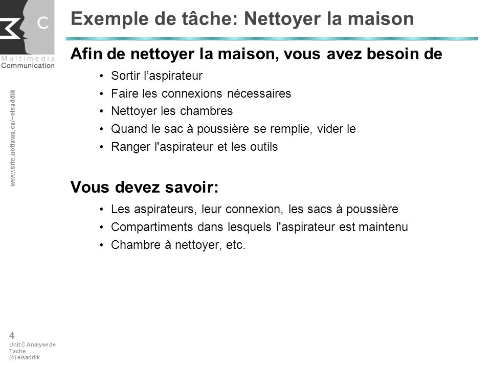 www.site.uottawa.ca/~elsaddik 5 Unit C Analyse de Tache (c) elsaddik 2.