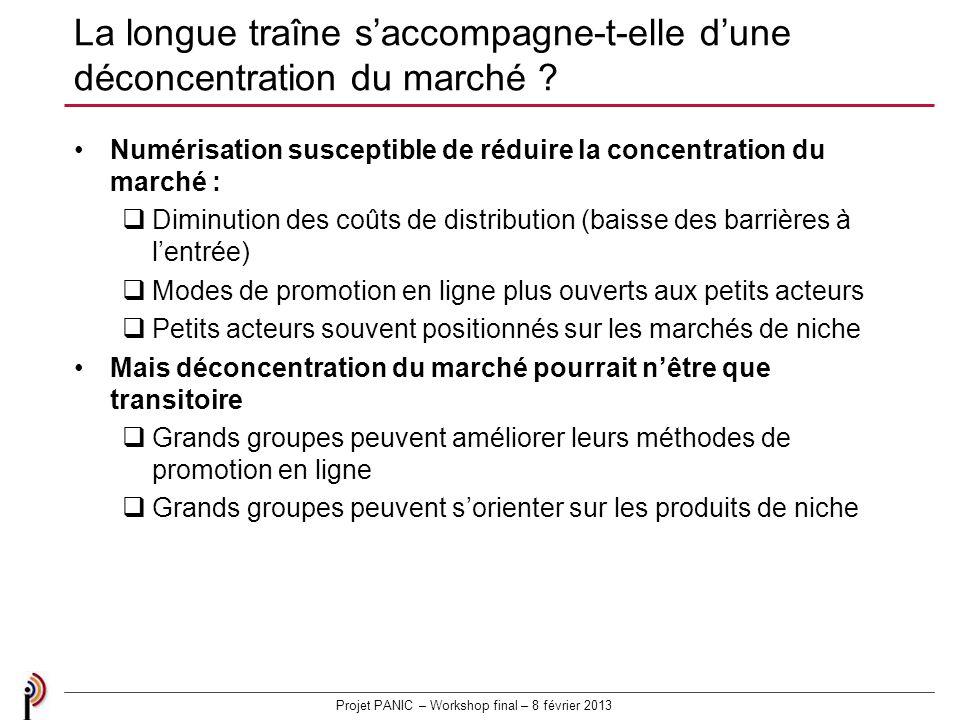 Projet PANIC – Workshop final – 8 février 2013 La longue traîne saccompagne-t-elle dune déconcentration du marché .