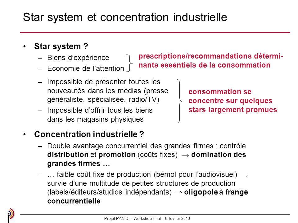 Projet PANIC – Workshop final – 8 février 2013 Star system et concentration industrielle Star system .
