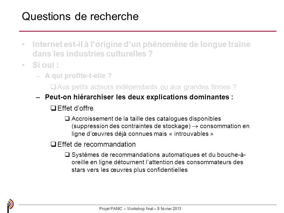 Projet PANIC – Workshop final – 8 février 2013 Questions de recherche Internet est-il à lorigine dun phénomène de longue traîne dans les industries culturelles .