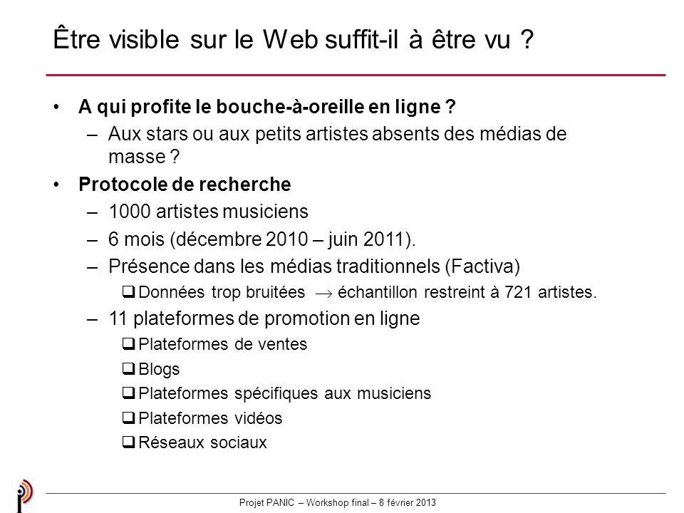 Projet PANIC – Workshop final – 8 février 2013 Être visible sur le Web suffit-il à être vu .