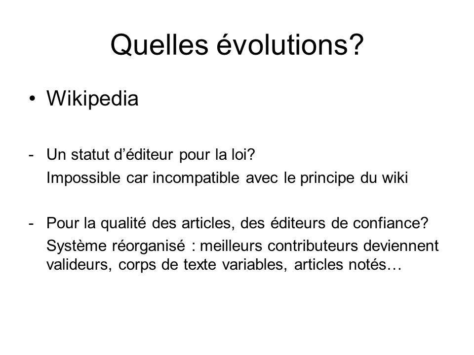Quelles évolutions. Wikipedia -Un statut déditeur pour la loi.
