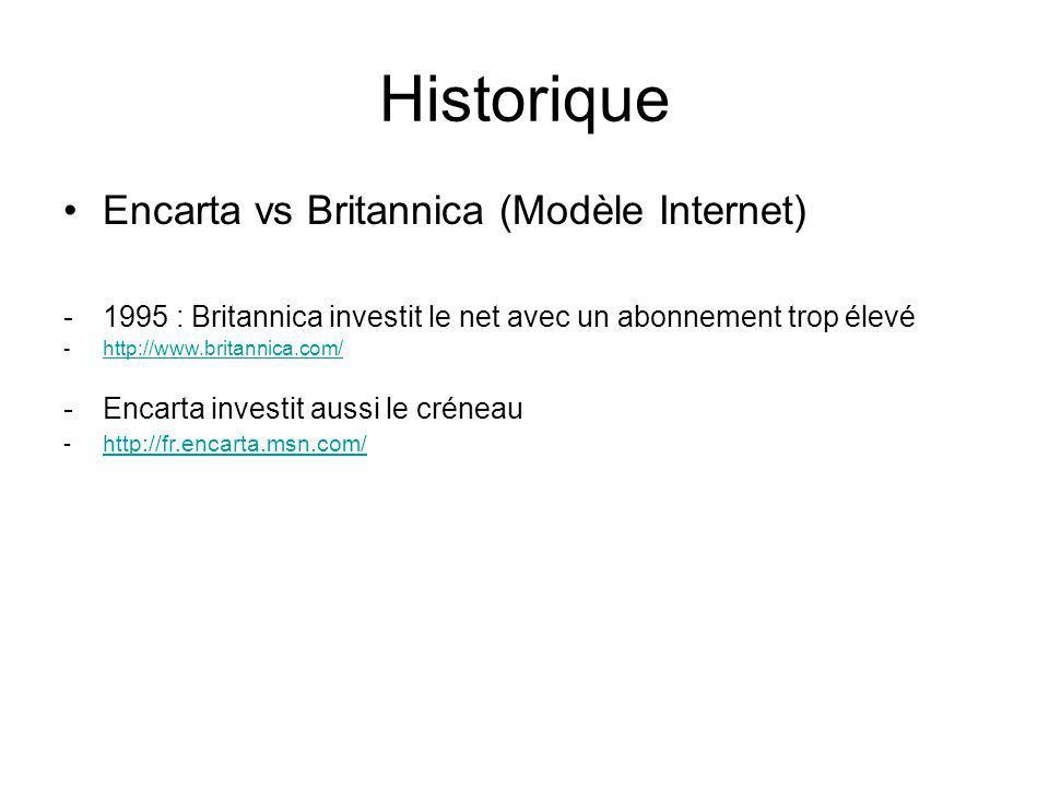 Encarta vs Britannica (Modèle Internet) -1995 : Britannica investit le net avec un abonnement trop élevé -http://www.britannica.com/http://www.britannica.com/ -Encarta investit aussi le créneau -http://fr.encarta.msn.com/http://fr.encarta.msn.com/