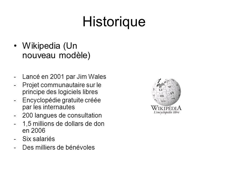 Historique Wikipedia (Un nouveau modèle) -Lancé en 2001 par Jim Wales -Projet communautaire sur le principe des logiciels libres -Encyclopédie gratuite créée par les internautes -200 langues de consultation -1,5 millions de dollars de don en 2006 -Six salariés -Des milliers de bénévoles
