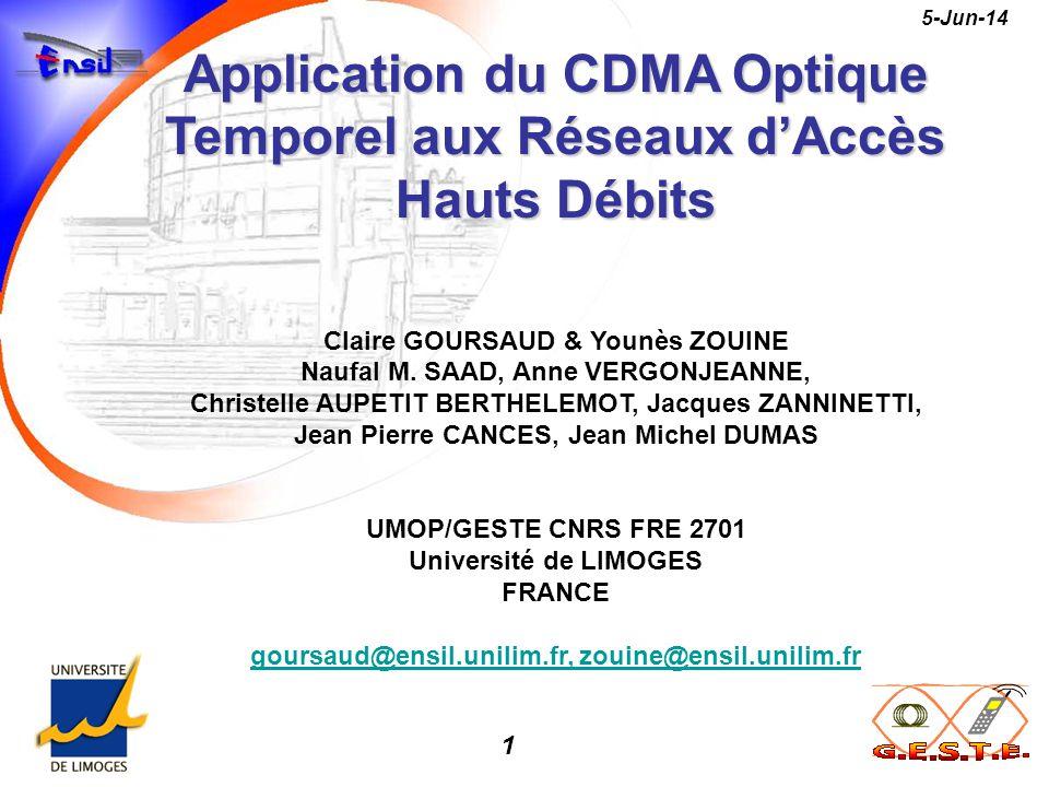 1 5-Jun-14 Application du CDMA Optique Temporel aux Réseaux dAccès Hauts Débits Claire GOURSAUD & Younès ZOUINE Naufal M. SAAD, Anne VERGONJEANNE, Chr