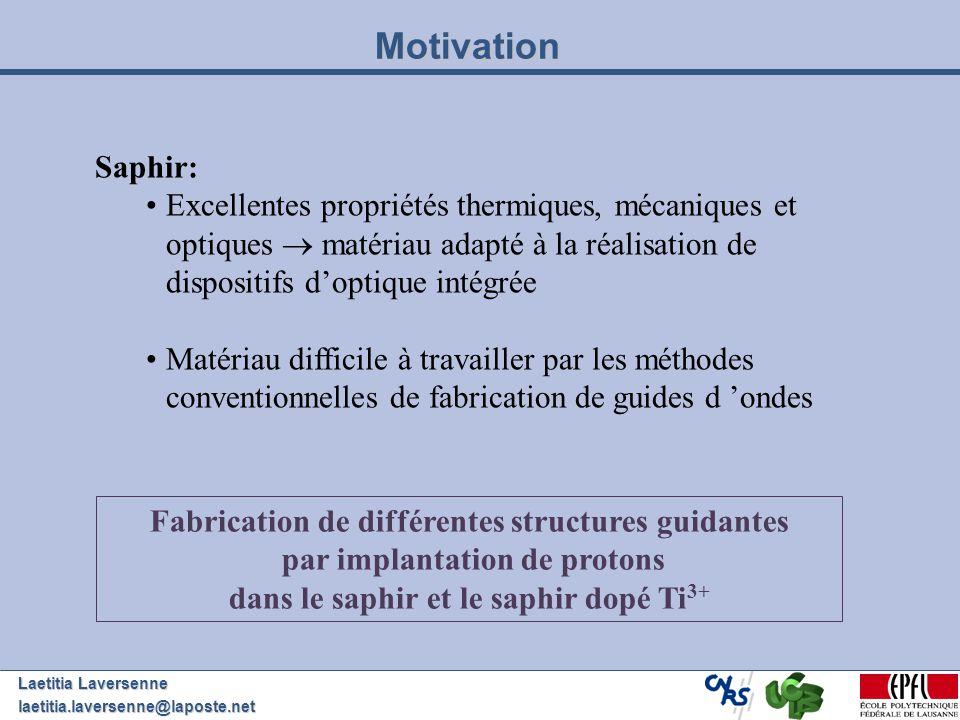 Laetitia Laversenne laetitia.laversenne@laposte.net Motivation Saphir: Excellentes propriétés thermiques, mécaniques et optiques matériau adapté à la