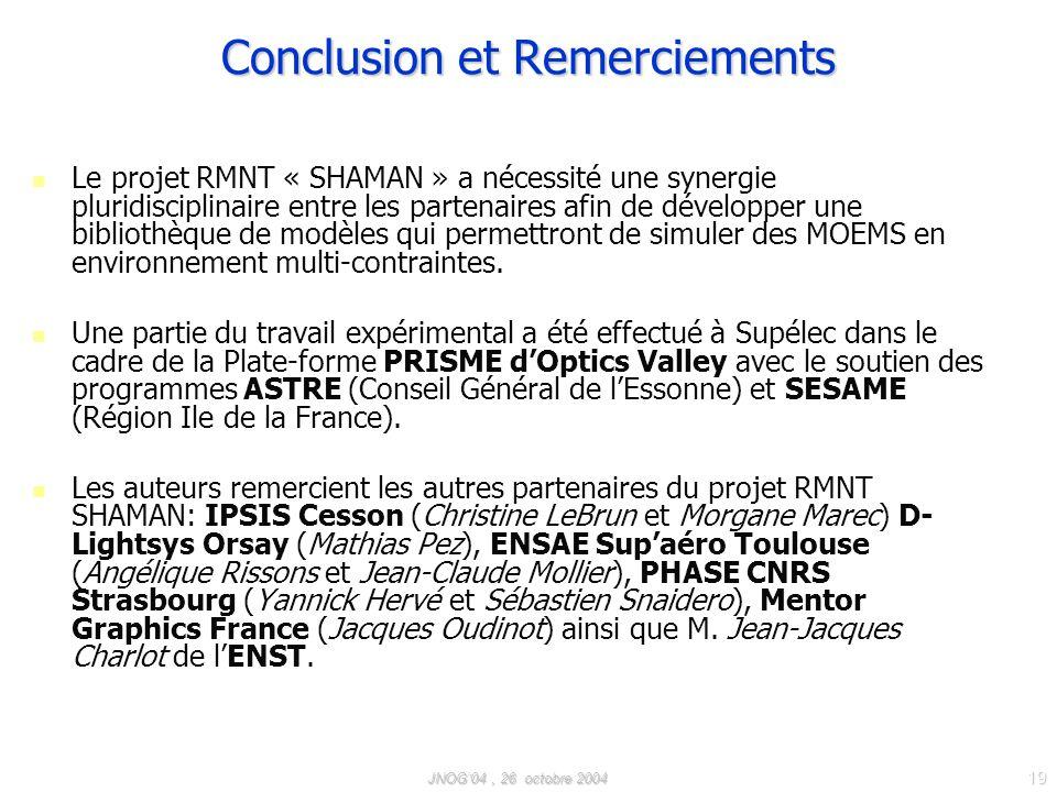 JNOG04, 26 octobre 2004 19 Conclusion et Remerciements Le projet RMNT « SHAMAN » a nécessité une synergie pluridisciplinaire entre les partenaires afin de développer une bibliothèque de modèles qui permettront de simuler des MOEMS en environnement multi-contraintes.