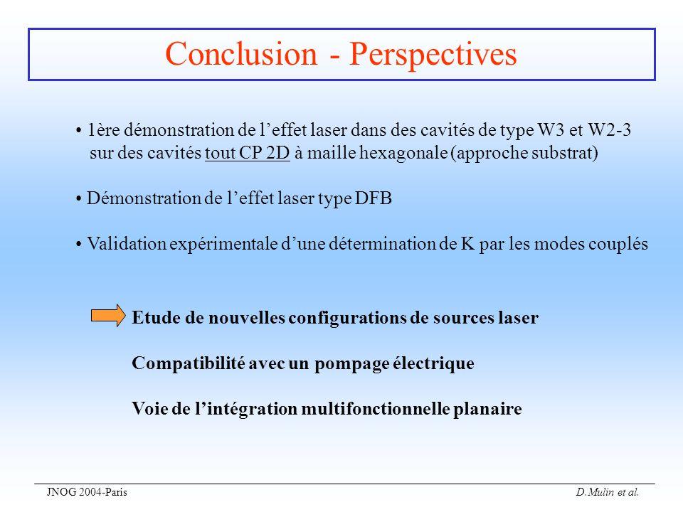 JNOG 2004-Paris D.Mulin et al. Conclusion - Perspectives 1ère démonstration de leffet laser dans des cavités de type W3 et W2-3 sur des cavités tout C