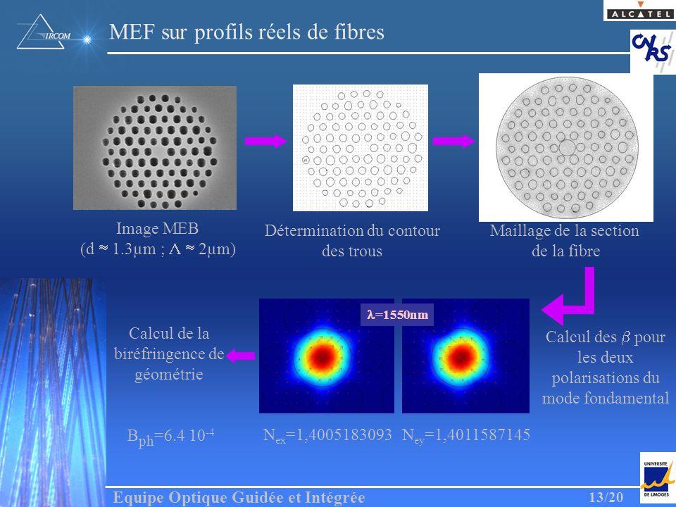 Equipe Optique Guidée et Intégrée 13/20 Image MEB (d 1.3µm ; 2µm) Détermination du contour des trous Maillage de la section de la fibre Calcul des pou