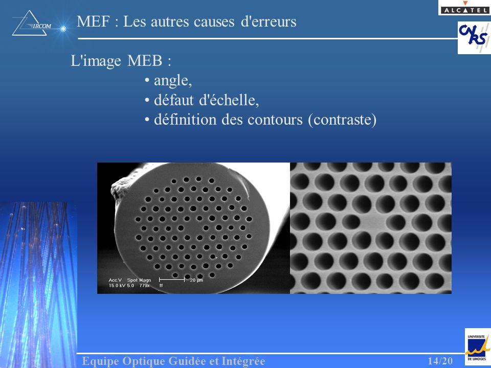 Equipe Optique Guidée et Intégrée 14/20 MEF : Les autres causes d'erreurs L'image MEB : angle, défaut d'échelle, définition des contours (contraste)
