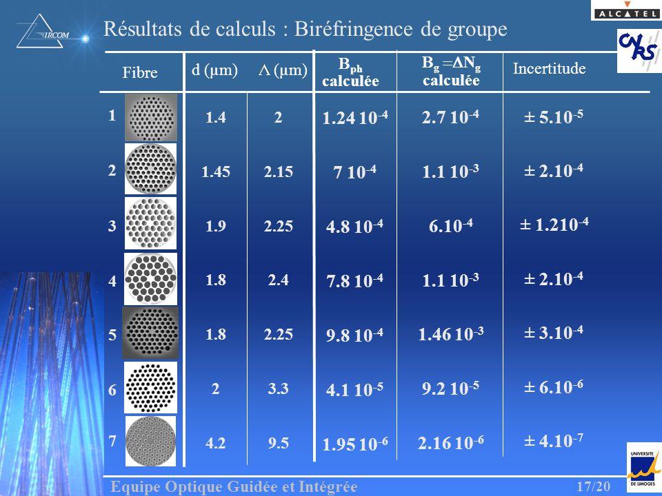 Equipe Optique Guidée et Intégrée 17/20 ph calculée Fibre 6 1 4 2 3 7 g N g calculée 7 10 -4 4.1 10 -5 1.95 10 -6 4.8 10 -4 7.8 10 -4 1.24 10 -4 Résul