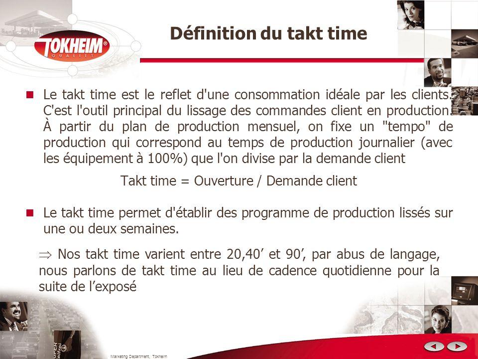 Marketing Department, Tokheim Le takt time est le reflet d'une consommation idéale par les clients. C'est l'outil principal du lissage des commandes c