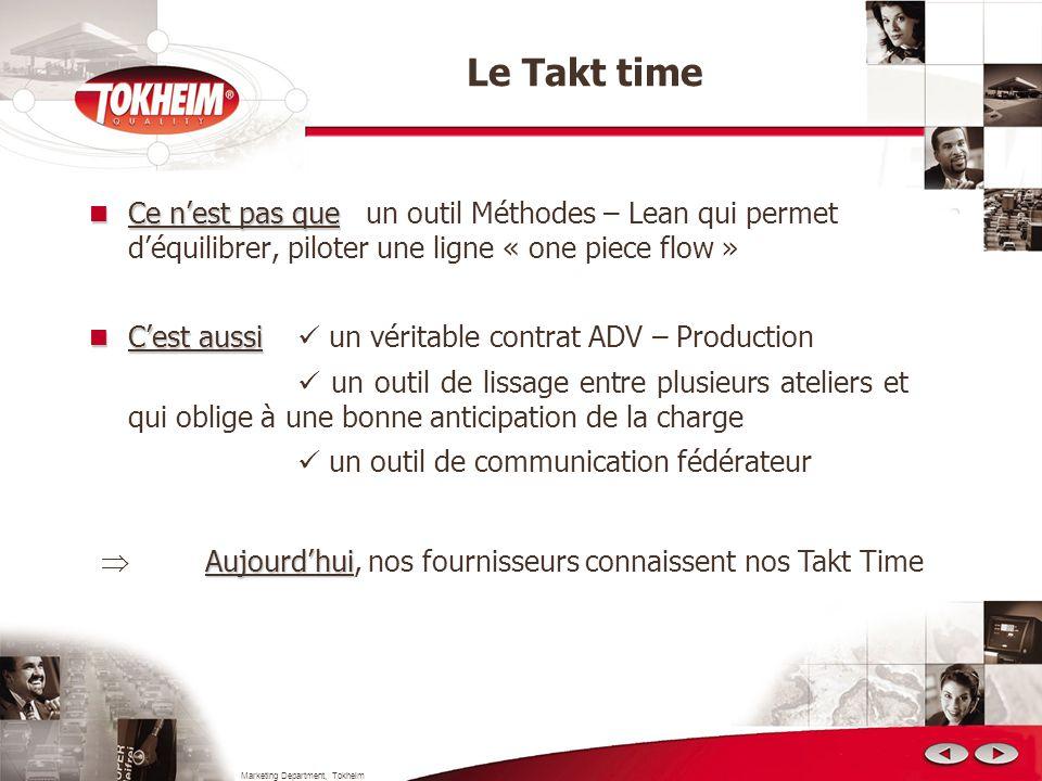 Marketing Department, Tokheim Le Takt time Ce nest pas que Ce nest pas que un outil Méthodes – Lean qui permet déquilibrer, piloter une ligne « one pi