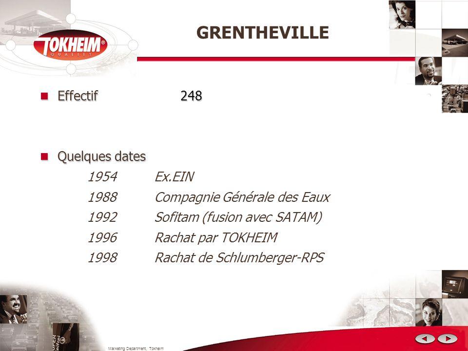 Marketing Department, Tokheim GRENTHEVILLE Effectif248 Effectif 248 Quelques dates Quelques dates 1954 Ex.EIN 1988 Compagnie Générale des Eaux 1992 So