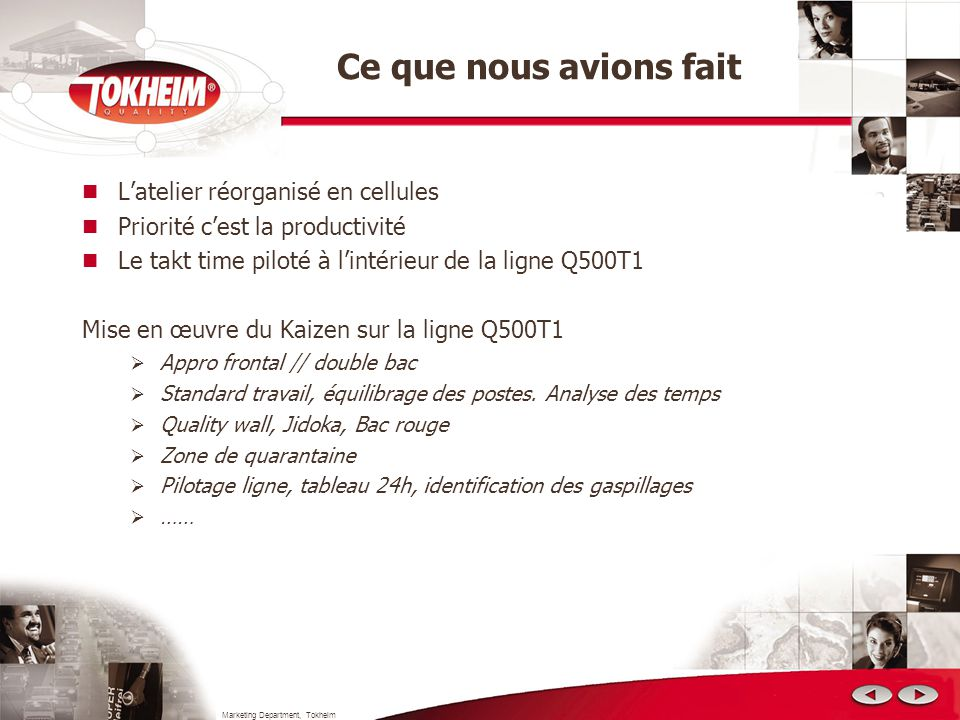 Marketing Department, Tokheim Pourquoi nous étions déçus Les + + 40% productivité Les - Pas damélioration des délais 90% des ressources indirectes, focalisées à éteindre lincendie (priorité dépannage, chargement du camion)
