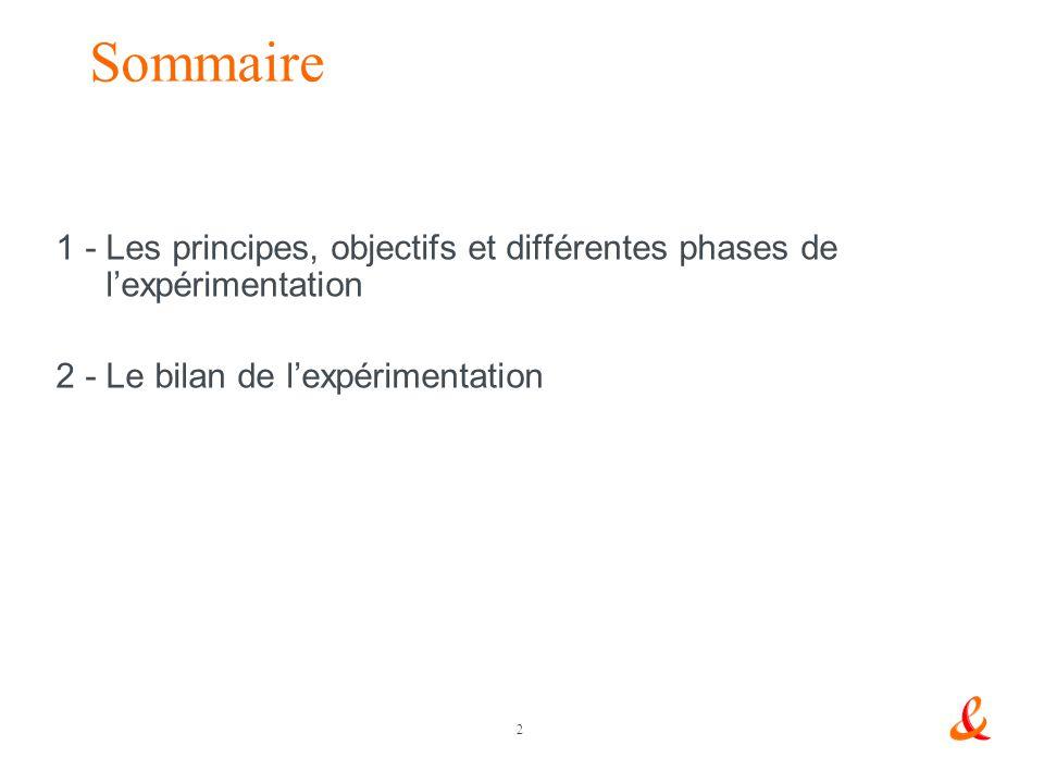 2 Sommaire 1 - Les principes, objectifs et différentes phases de lexpérimentation 2 - Le bilan de lexpérimentation