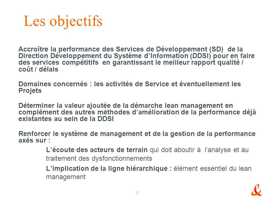 5 Les objectifs Accroître la performance des Services de Développement (SD) de la Direction Développement du Système dInformation (DDSI) pour en faire des services compétitifs en garantissant le meilleur rapport qualité / coût / délais Domaines concernés : les activités de Service et éventuellement les Projets Déterminer la valeur ajoutée de la démarche lean management en complément des autres méthodes damélioration de la performance déjà existantes au sein de la DDSI Renforcer le système de management et de la gestion de la performance axés sur : Lécoute des acteurs de terrain qui doit aboutir à lanalyse et au traitement des dysfonctionnements Limplication de la ligne hiérarchique : élément essentiel du lean management