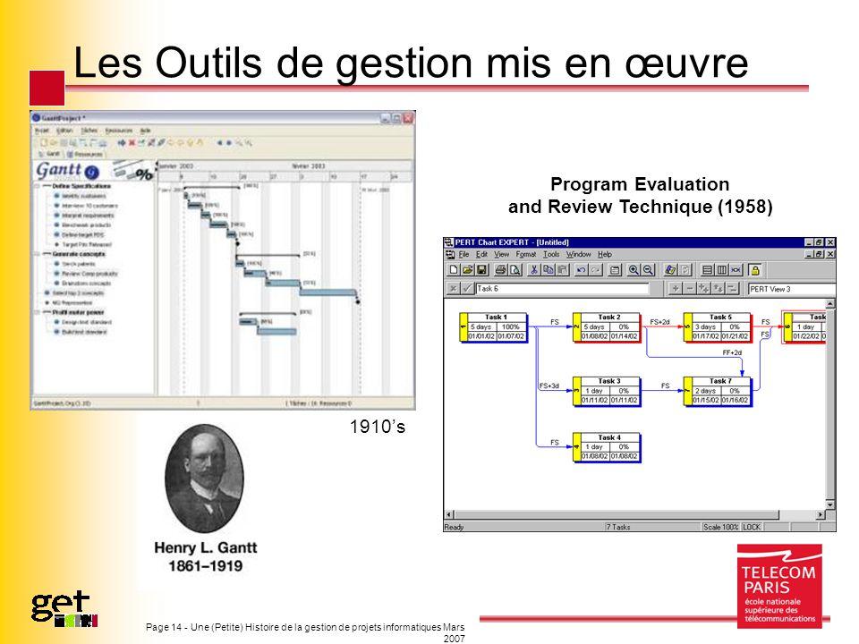 Page 14 - Une (Petite) Histoire de la gestion de projets informatiques Mars 2007 Les Outils de gestion mis en œuvre Program Evaluation and Review Tech