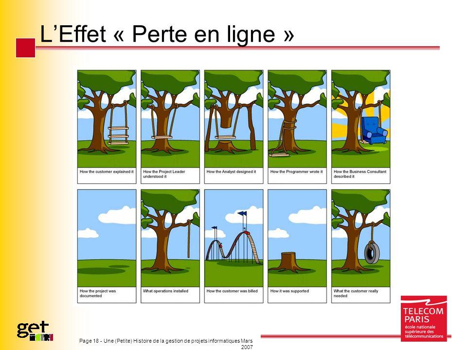 Page 18 - Une (Petite) Histoire de la gestion de projets informatiques Mars 2007 LEffet « Perte en ligne »