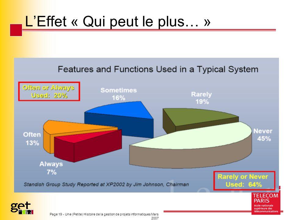 Page 19 - Une (Petite) Histoire de la gestion de projets informatiques Mars 2007 LEffet « Qui peut le plus… »