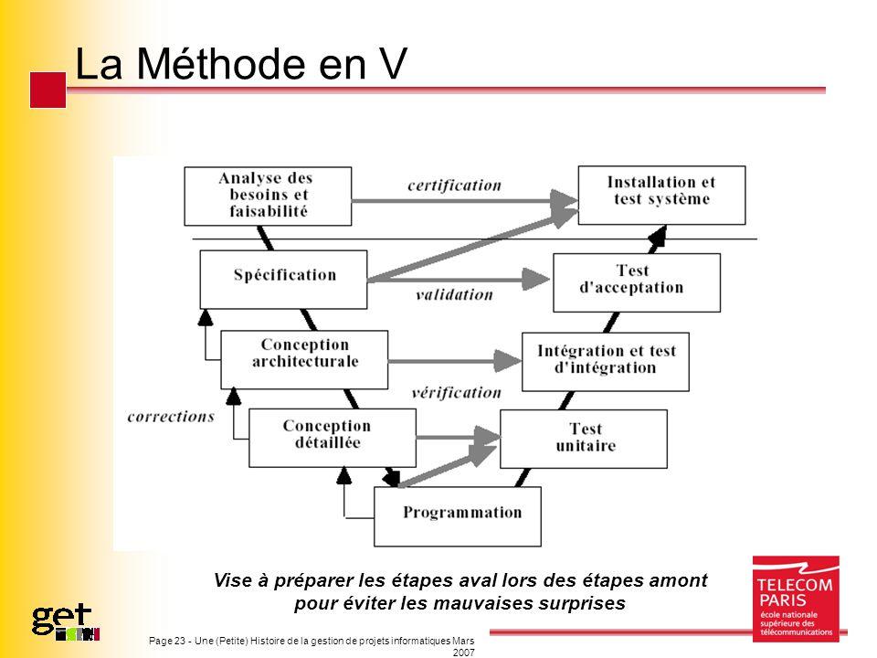 Page 23 - Une (Petite) Histoire de la gestion de projets informatiques Mars 2007 La Méthode en V Vise à préparer les étapes aval lors des étapes amont