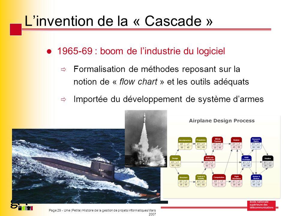 Page 29 - Une (Petite) Histoire de la gestion de projets informatiques Mars 2007 Linvention de la « Cascade » 1965-69 : boom de lindustrie du logiciel
