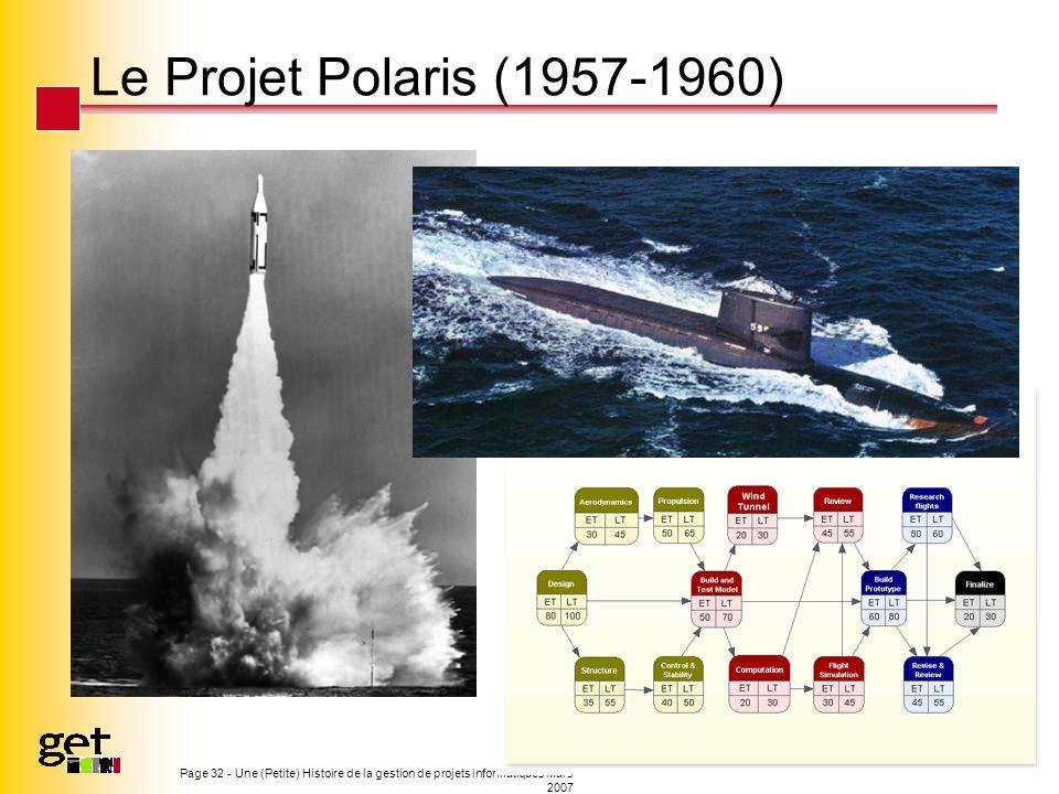 Page 32 - Une (Petite) Histoire de la gestion de projets informatiques Mars 2007 Le Projet Polaris (1957-1960)