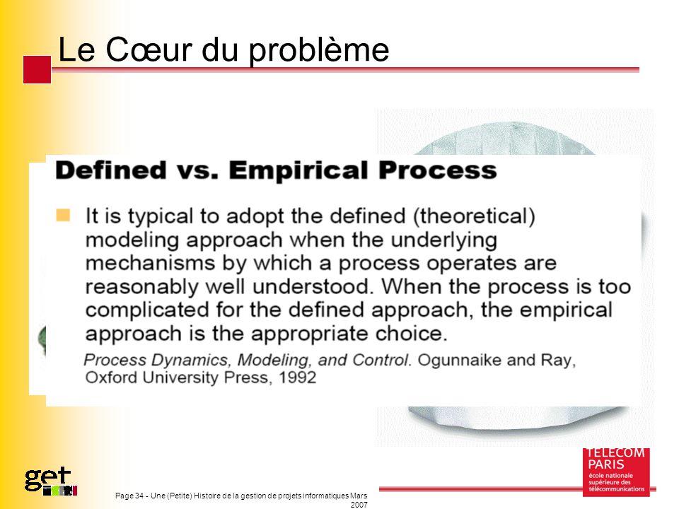 Page 34 - Une (Petite) Histoire de la gestion de projets informatiques Mars 2007 Le Cœur du problème
