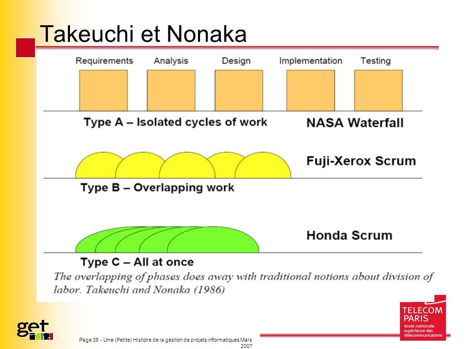 Page 38 - Une (Petite) Histoire de la gestion de projets informatiques Mars 2007 Takeuchi et Nonaka