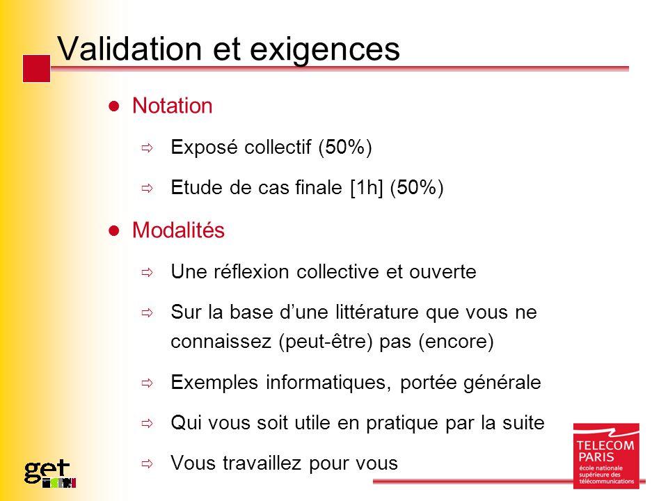 Validation et exigences Notation Exposé collectif (50%) Etude de cas finale [1h] (50%) Modalités Une réflexion collective et ouverte Sur la base dune