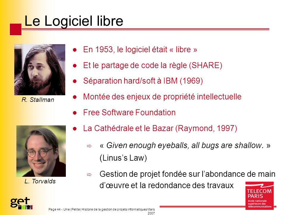 Page 44 - Une (Petite) Histoire de la gestion de projets informatiques Mars 2007 Le Logiciel libre En 1953, le logiciel était « libre » Et le partage