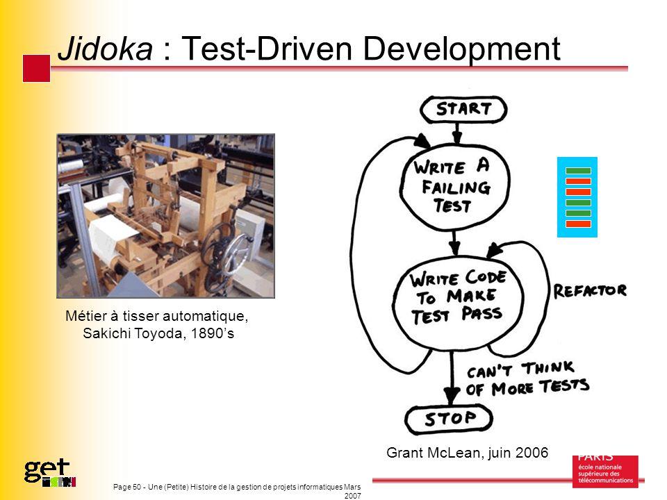 Page 50 - Une (Petite) Histoire de la gestion de projets informatiques Mars 2007 Jidoka : Test-Driven Development Grant McLean, juin 2006 Métier à tis
