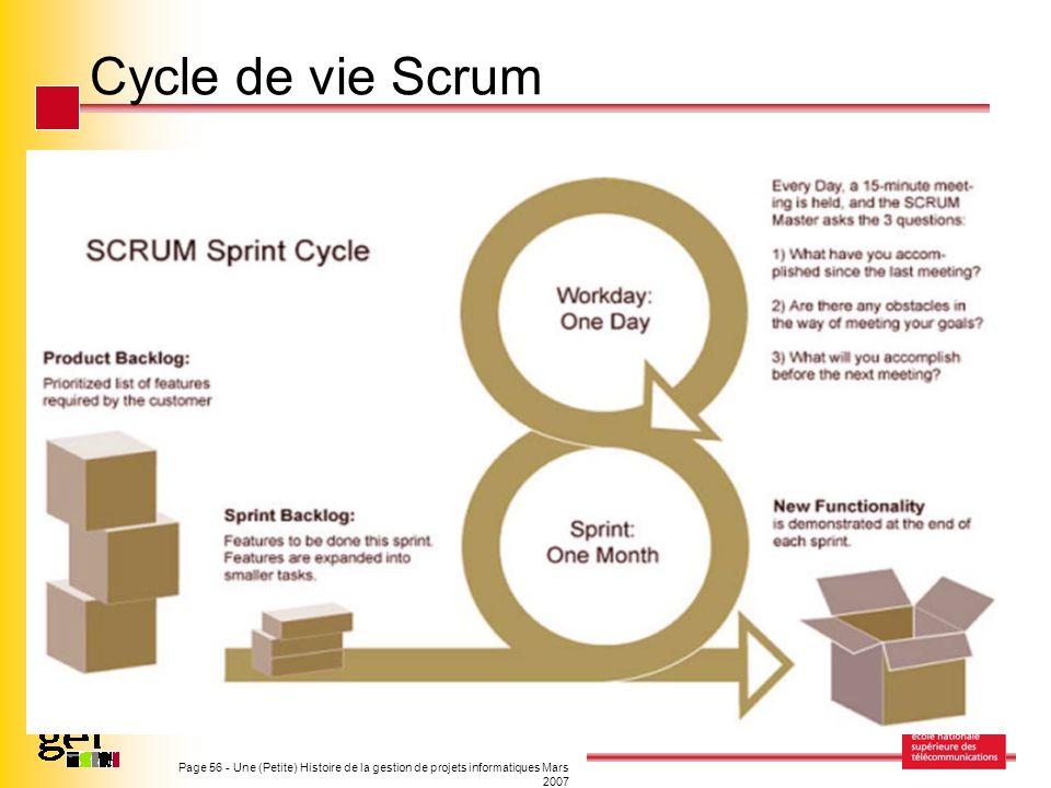 Page 56 - Une (Petite) Histoire de la gestion de projets informatiques Mars 2007 Cycle de vie Scrum