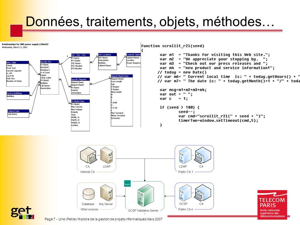 Page 7 - Une (Petite) Histoire de la gestion de projets informatiques Mars 2007 Données, traitements, objets, méthodes…