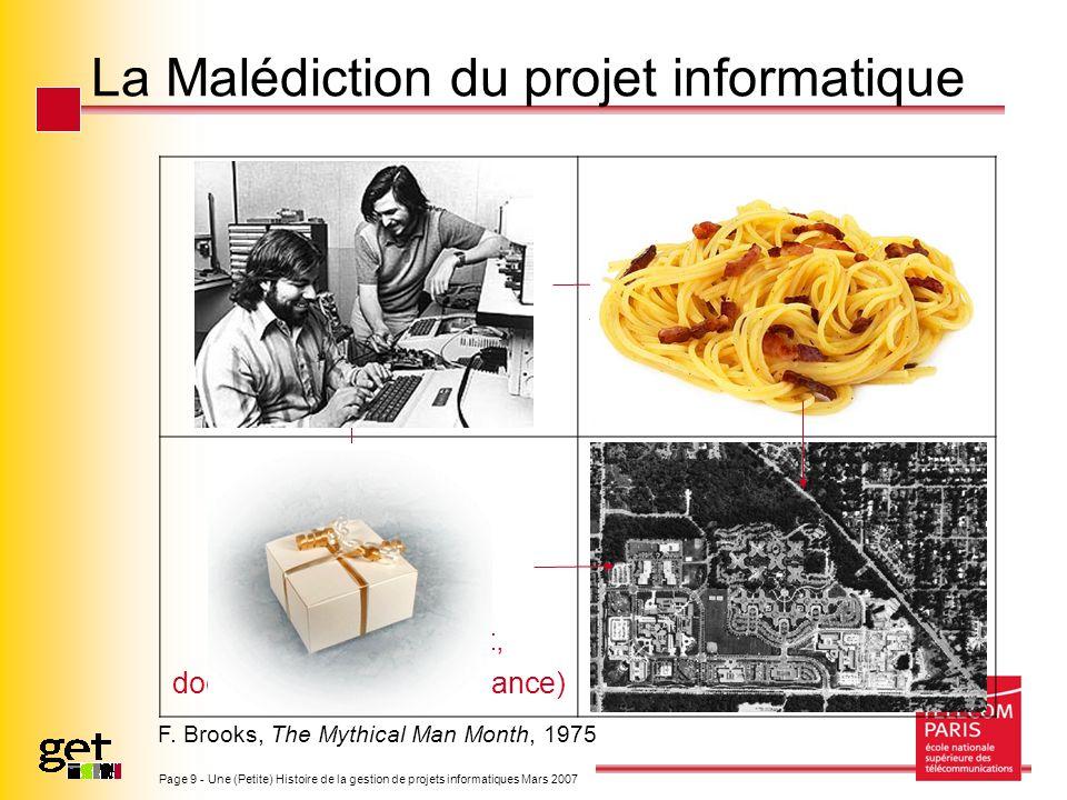 Page 9 - Une (Petite) Histoire de la gestion de projets informatiques Mars 2007 La Malédiction du projet informatique A Program A Programming System (