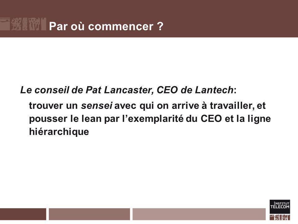 Par où commencer ? Le conseil de Pat Lancaster, CEO de Lantech: trouver un sensei avec qui on arrive à travailler, et pousser le lean par lexemplarité