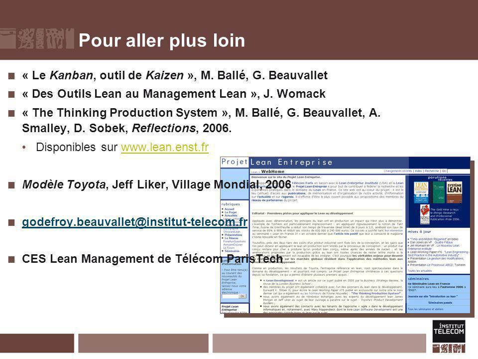 Pour aller plus loin « Le Kanban, outil de Kaizen », M. Ballé, G. Beauvallet « Des Outils Lean au Management Lean », J. Womack « The Thinking Producti
