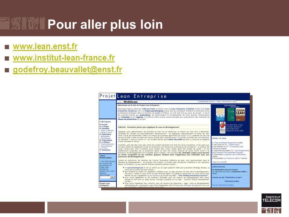 Pour aller plus loin www.lean.enst.fr www.institut-lean-france.fr godefroy.beauvallet@enst.fr