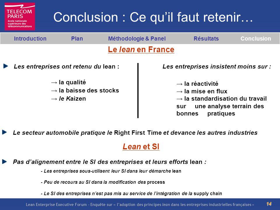 Lean Enterprise Executive Forum – Enquête sur « ladoption des principes lean dans les entreprises industrielles françaises » 14 Conclusion : Ce quil f