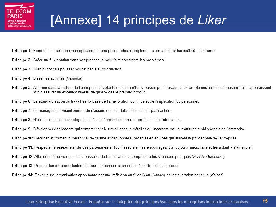 Lean Enterprise Executive Forum – Enquête sur « ladoption des principes lean dans les entreprises industrielles françaises » 15 [Annexe] 14 principes