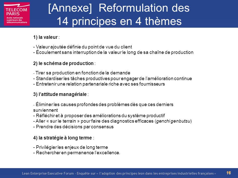 Lean Enterprise Executive Forum – Enquête sur « ladoption des principes lean dans les entreprises industrielles françaises » 16 [Annexe] Reformulation