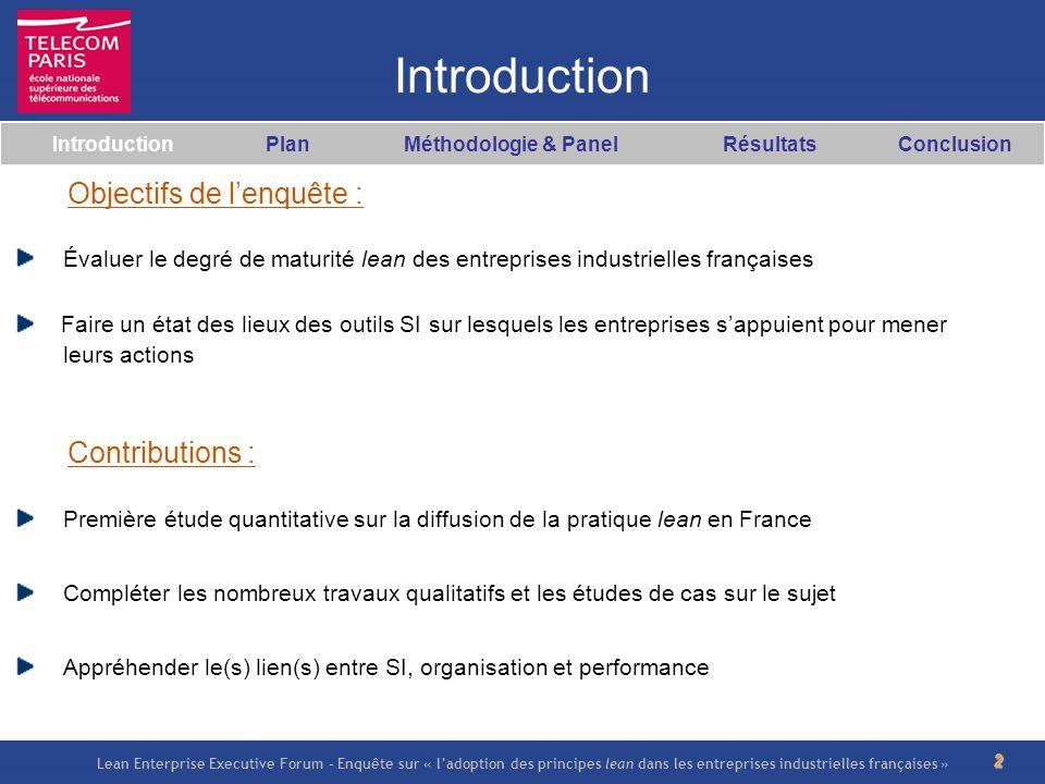 Lean Enterprise Executive Forum – Enquête sur « ladoption des principes lean dans les entreprises industrielles françaises » 2 Introduction Introducti