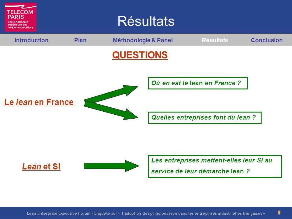 Lean Enterprise Executive Forum – Enquête sur « ladoption des principes lean dans les entreprises industrielles françaises » 6 Résultats Le lean en Fr