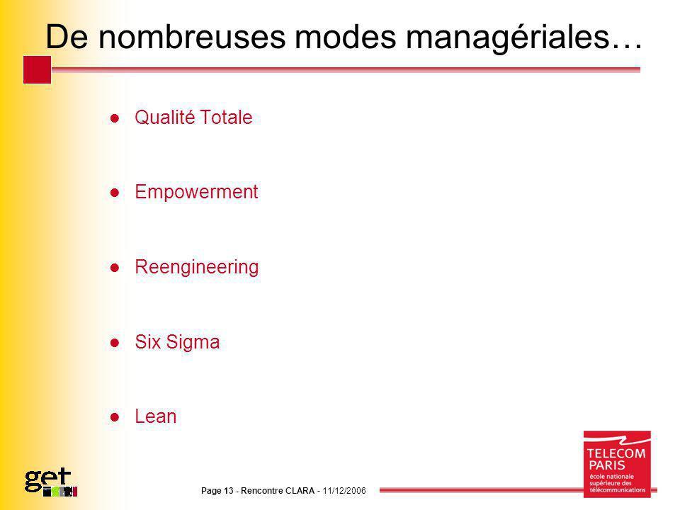 Page 13 - Rencontre CLARA - 11/12/2006 De nombreuses modes managériales… Qualité Totale Empowerment Reengineering Six Sigma Lean