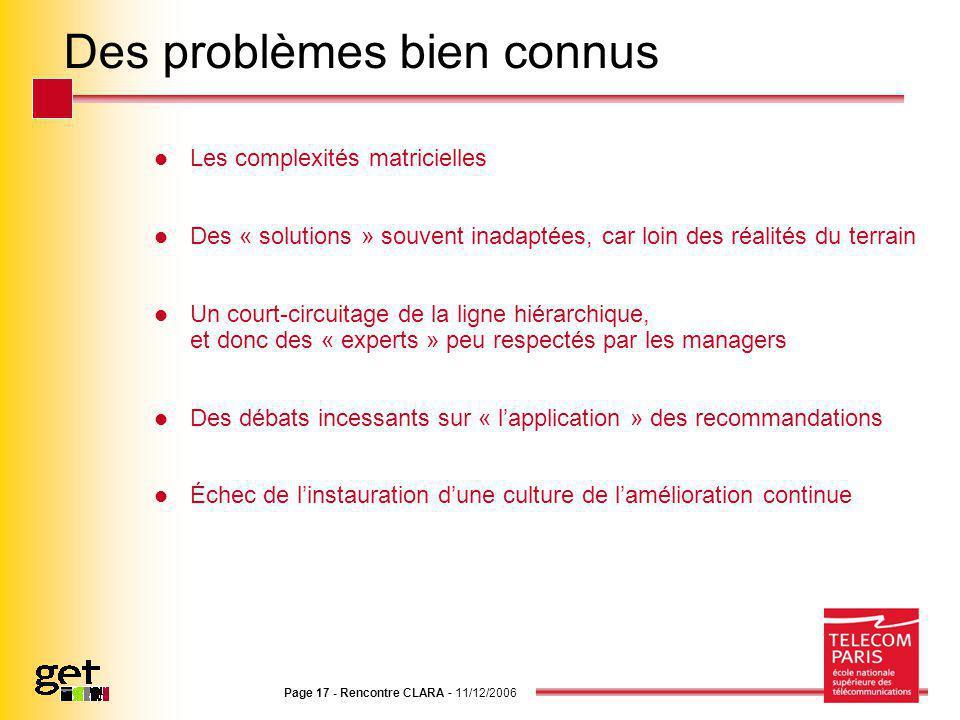 Page 17 - Rencontre CLARA - 11/12/2006 Des problèmes bien connus Les complexités matricielles Des « solutions » souvent inadaptées, car loin des réali