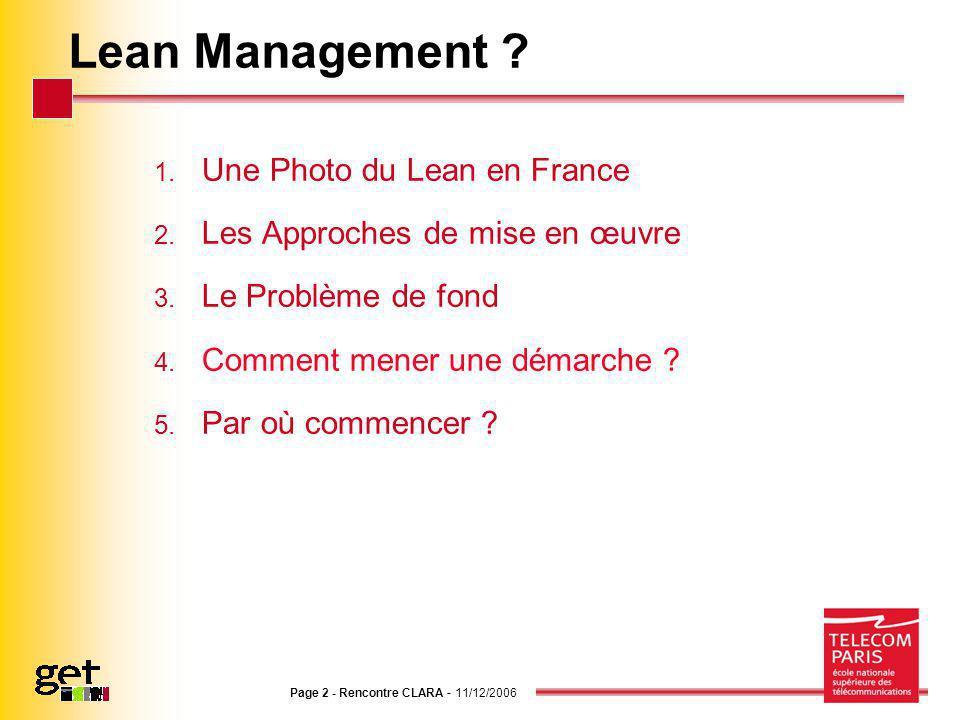Page 2 - Rencontre CLARA - 11/12/2006 Lean Management ? 1. Une Photo du Lean en France 2. Les Approches de mise en œuvre 3. Le Problème de fond 4. Com