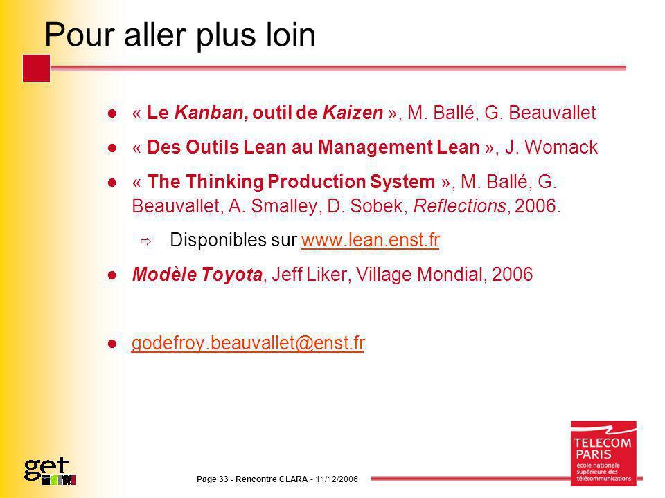 Page 33 - Rencontre CLARA - 11/12/2006 Pour aller plus loin « Le Kanban, outil de Kaizen », M. Ballé, G. Beauvallet « Des Outils Lean au Management Le