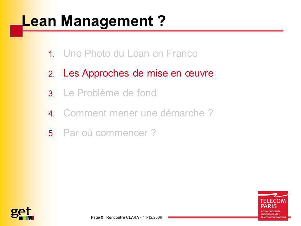 Page 8 - Rencontre CLARA - 11/12/2006 Lean Management ? 1. Une Photo du Lean en France 2. Les Approches de mise en œuvre 3. Le Problème de fond 4. Com