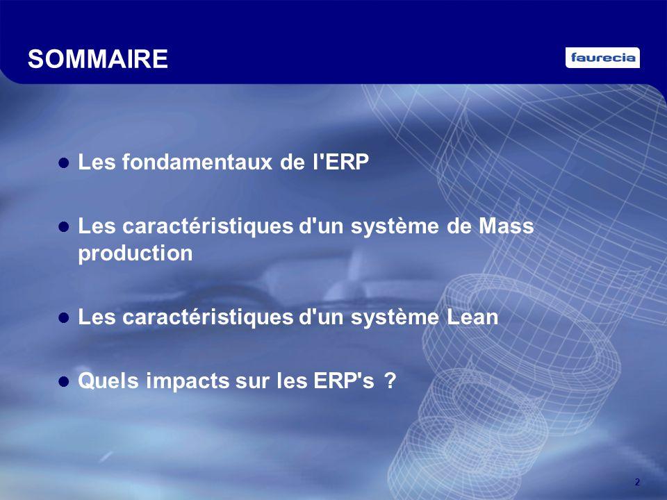 2 SOMMAIRE Les fondamentaux de l'ERP Les caractéristiques d'un système de Mass production Les caractéristiques d'un système Lean Quels impacts sur les